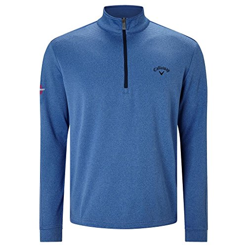 Callaway Golf 2017 Mens 1/4 Zip Stretch Thermal Waffle Pullover Bright Cobalt Medium