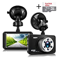 "Senwow In Car Dash Cam Camera (With 16GB Card) 1080P Full HD 3"" LCD Metal Driving Video Recorder Dashboard DVR Built In G-Sensor Night Vision Loop Recording Parking Monitor WDR"