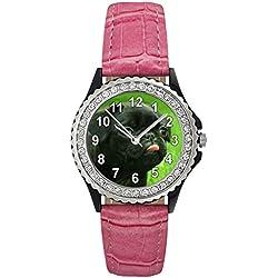 Reloj de cuero color rosa para mujer con piedrecillas y carllino negro