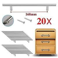 Reelva T Bar Handle Furniture Door Wardrobe Cupboard Cabinet Drawer Pull Handle Knobs (20 X T Bar hole Center 160MM)