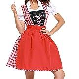 VEMOW Damen Kostüme Elegant Damen 3 Stück Dirndl Kleid Bluse Costumes rachtenkleid mit Stickerei Traditionelle Bayerische Oktoberfest Karneval(X3-Rot, EU-34/CN-S)
