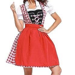VEMOW Damen Kostüme Elegant Damen 3 Stück Dirndl Kleid Bluse Costumes rachtenkleid mit Stickerei Traditionelle Bayerische Oktoberfest Karneval(X3-Rot, EU-38/CN-L)