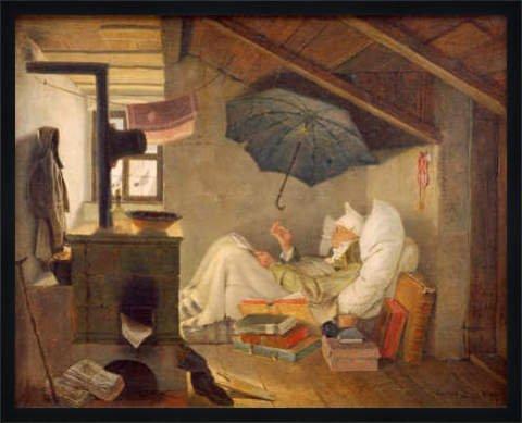 Bild mit Rahmen: Carl Spitzweg, 'Der arme Poet', 79 x 63 - Holz Fortuna L: Schwarz matt