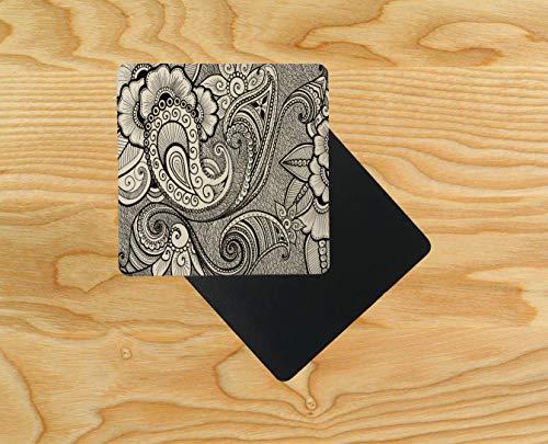 Henna Hina Mehndi Untersetzer aus Holz mit asiatischer Kunst 95 x 95 mm, holz, mehrfarbig, 12er-Pack -