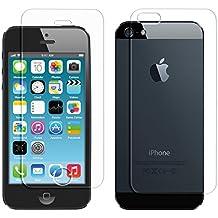 kwmobile 1x Protector de pantalla + 1x Protector de la PARTE TRASERA de cristal templado para > Apple iPhone SE / 5 / 5S / 5C < TRANSPARENTE - Calidad superior