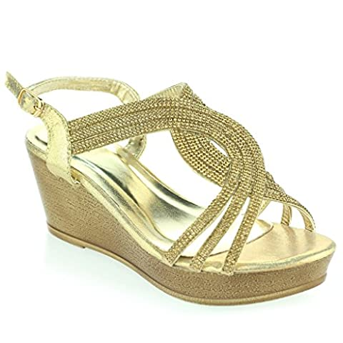Women Ladies Rhinestones Detailed Open Toe Slingback Evening Wedding Party Prom Wedge Heel Gold Sandals Shoes Size