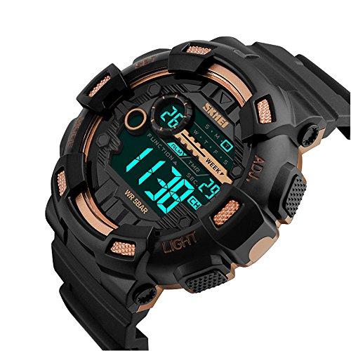 Skmei Relojes Deportivos para Hombre, 50m Resistente Al Agua Digital Militares Relojes Grandes con cuenta atrás,LED Relojes de Pulsera de Negro y Oro Rosa para Hombre Niño