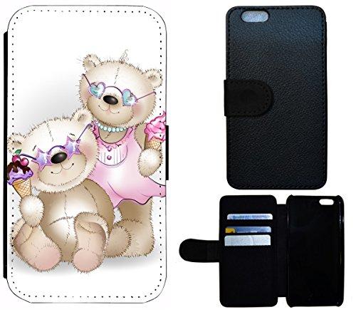Flip Cover Schutz Hülle Handy Tasche Etui Case für (Apple iPhone 6 / 6s, 1612 Wolf Schwarz Grau) 1615 Bär Bärchen Teddybär Cartoon