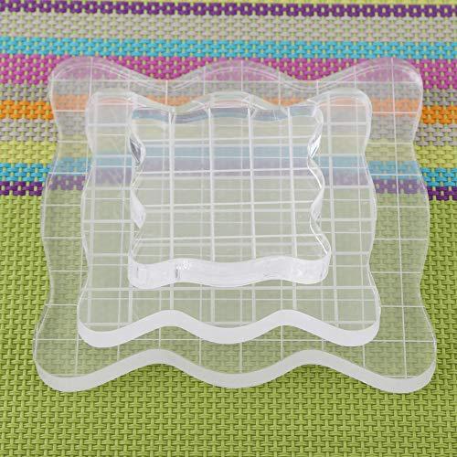 Transparente Stempelblöcke aus Acryl mit Rasterlinien, quadratisch mit Bogenkanten - wesentliche Stempelwerkzeuge für das Scrapbooking-Basteln, 1,97 x 1,97