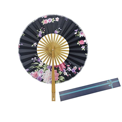 KAKOO Japanischer Handfächer mit Geschenkbox Windmühle Taschenfächer Damen Stoff Fächer Klappfächer Wand Dekofächer Hochzeit Party Tanz Karneval (Kleine Für Kostüme Mädchen Tanzabend)
