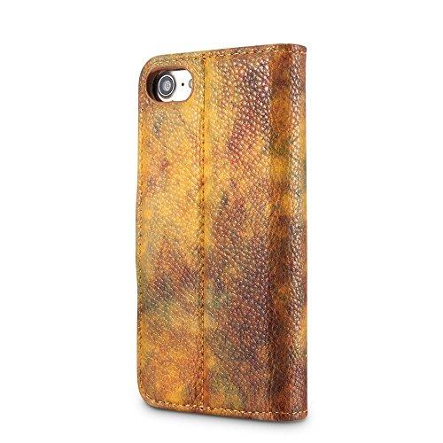 Wald Serie Bunte Paiting Litchi Textur Premium PU Leder Horizontale Flip Stand Brieftasche Fall Deckung mit Card Slots für iPhone 7/8 ( Color : Yellow ) Yellow