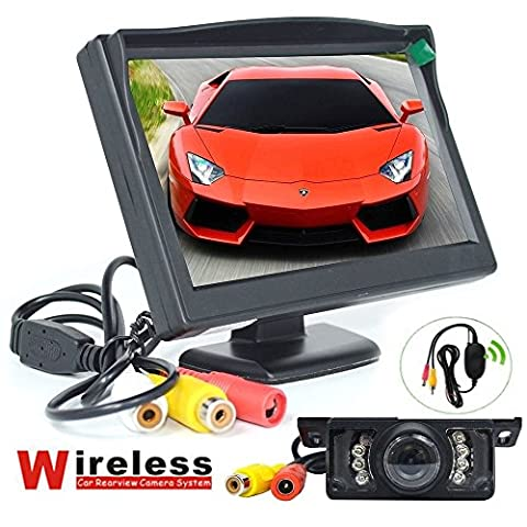 BW Wireless Car Parking System Kits -- 5 inch HD 800*480 pixels (not 320*240) Car Rearview Monitor + Wireless 7 LEDS IR Night Vision Car Reverse Backup
