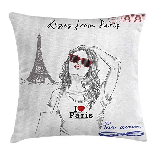 LanDu Fashion House Decor Dekokissen Kissenbezug Kisses aus Paris EIN Mädchen mit Sonnenbrille posiert vor dem Eiffelturm-Kissenbezug 18