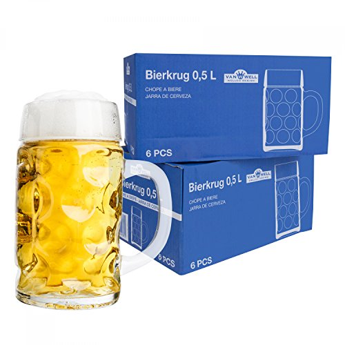 Van Well 12er Set Maßkrug 0,5L geeicht | Halber Liter Bierkrug mit Henkel | Bierglas spülmaschinenfest perfekt geeignet für Gastronomie