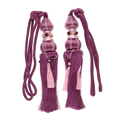 Ipotch 2x corde per tende sotto forma di perline e nappa, decorazioni per casa in stile bohemien - viola
