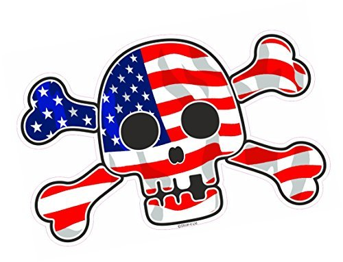 Flagge-aufkleber Auto Amerikanische Für Große (Pirat Optik Schädel & Gekreuzte Knochen mit amerikanischen Sterne & Streifen US Flagge Motiv Vinyl Auto Autoaufkleber Abziehbild (groß) 200x130mm Ca.)