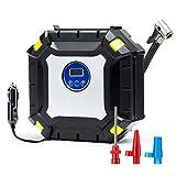 Wonyered Digital Gonfleur de pneu Compresseur d'air portable 12V DC Auto Pompe de lumière LED avec câble de 3m pour voiture, camion, vélo ou Basketball...