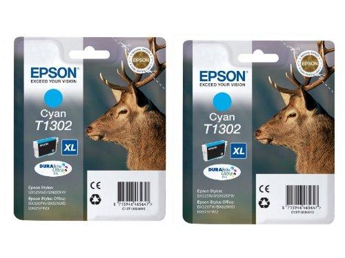 Preisvergleich Produktbild Epson T1301 x2 2x Tintenpatronen Original, cyan