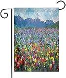 Shinanla Drapeau de Jardin Doux Art Paysage Rural avec Bouquet de Fleur de Tulipe Printemps Prairie rafraîchissante Botanique Image floue Petit Jardin Drapeaux décoratifs en Plein air Multicouleur