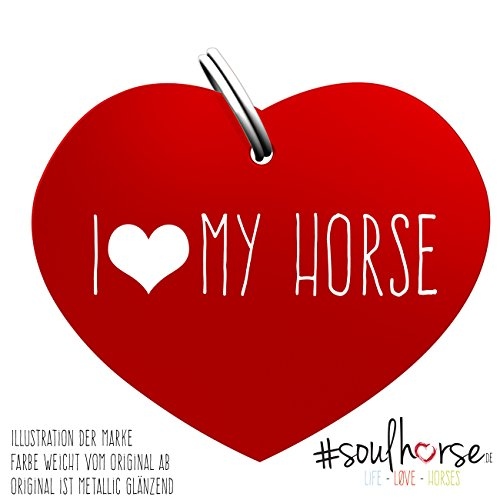 """Pferde Glücksmarke Herzmarke \""""#I (herz) MY HORSE\"""" in rot von Soulhorse fürs Halfter, Trense und Zaumzeug"""