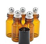 Boccette vuote roll on da 3 ml in vetro ambrato, con rullo a sfera in acciaio INOX, può contenere olio essenziale, profumi, lucidalabbra,  balsamo, 12 pezzi