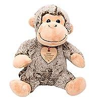 Hoolaroo Personalised Monkey Plush with Vintage wooden personalised engraved heart tag Gift