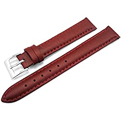 Red Padded Leather Watch Strap Band With A Stitched Edging And Nubuck Lining 12mm