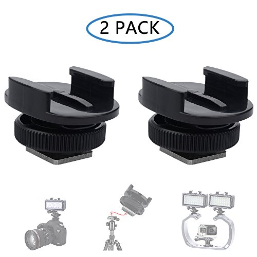 Plug-in-licht-adapter (SupTig Licht-Adapter Cold Shoe Mount Adapter für SLR Kamera GoPro Kamera Licht und andere Action Kameras (2 Pack) schwarz)
