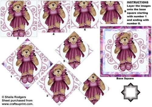 Orso in Plum Dress Star Pyramid by Sheila Rodgers