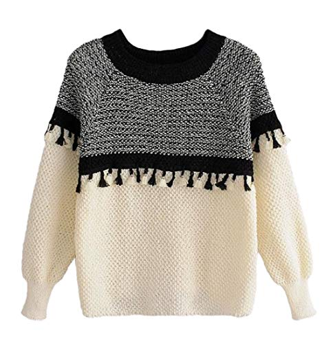 SOWTKSL Womens Color Block Patchwork Tassel Trim Long Sleeve Loose Pullover Round Neck Sweatshirt 1 XS -