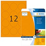 HERMA 5153 Neon-Etiketten DIN A4 (Ø 60 mm, 20 Blatt, Papier, matt, rund) selbstklebend, bedruckbar, permanent haftende Farbetiketten, 240 Klebeetiketten, neon-orange