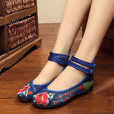 Confortevole ed elegante piatto scarpe scarpe donna tela Primavera / Estate / Autunno Mary Jane / Comfort Appartamenti Casual tacco piatto fibbia fiore / nero / blu Black
