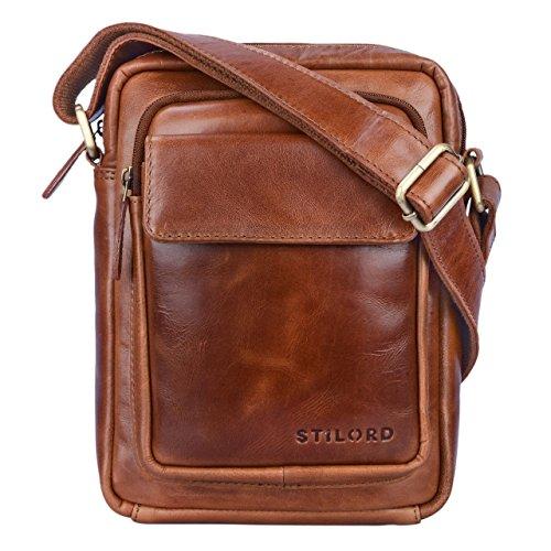 STILORD 'Jannis' Leder Umhängetasche Männer klein Vintage Messenger Bag Herren-Tasche Tablettasche für 9.7 Zoll iPad Schultertasche aus echtem Leder, Farbe:Cognac - glänzend - Schicke Kleine Crossover