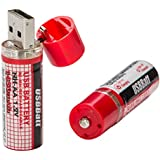 2x USB Batterie AA Mignon Akku mit USB-Schnittstelle Wiederaufladbar 1450 mAh
