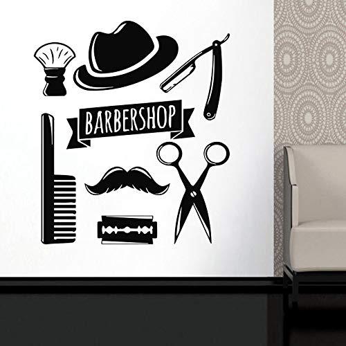 zqyjhkou Mann Friseur Aufkleber Haarschnitt Werkzeuge Vinyl Wandaufkleber Stylist Friseur Mann Gesicht Salon Fenster Aufkleber wasserdichte Wandbilder Ba23 42x48 cm