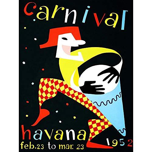 vel Cultural Carnival Havana Cuba Vintage Art Print Poster Wall Decor Kunstdruck Poster Wand-Dekor-12X16 Zoll ()