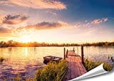 PMP 4life. XXL Poster Steg mit Boot | 140x100cm | hochauflösendes Wand-Bild, Natur Poster extra groß, XL Fotoposter | Wand-deko Bild Landschaft See Sonnenuntergang