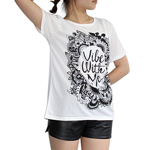 BienBien T Shirt Imprimé Femme Chemise Manche Courte Lettre Tops Tunique Casual Blouse Ete Modèle 06