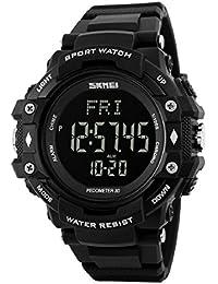 Hombres deportes pulsómetro podómetro contador de calorías reloj de pulsera impermeable de color negro
