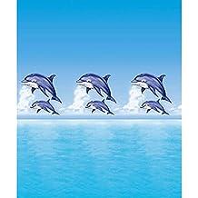 Cortina de ducha de tela ((poliéster) 180x 200cm Delfín Mar Azul Impermeable antimoho para lavable/bañera cortina cortina, alta calidad con anillos