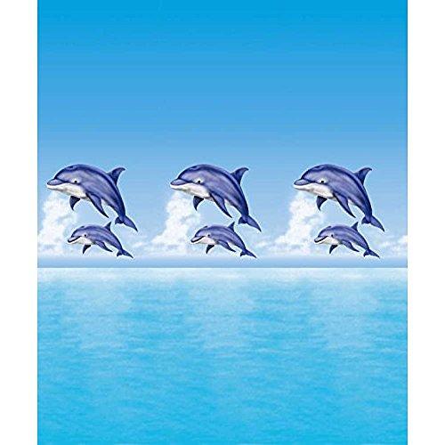 Duschvorhang Textil ( Polyester ) 180x200 cm Delfin Meer blau wasserabweisend Anti-Schimmel waschbar / Badewannenvorhang Vorhang, hochwertige Qualität mit Ringen