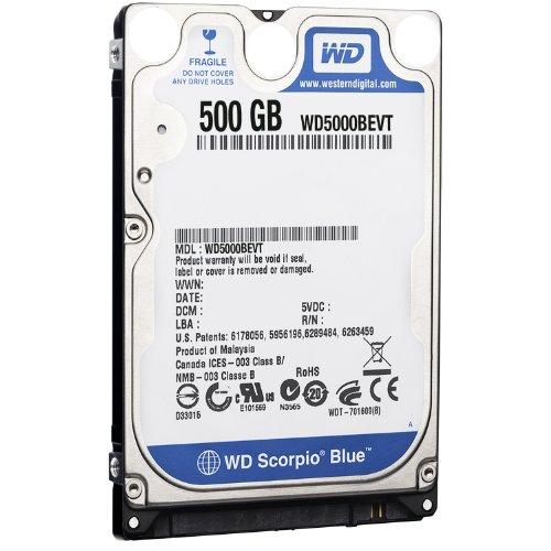 Western Digital WD5000BEVT Scorpio Blue 500GB interne Festplatte (6,4 cm (2,5 Zoll), 5400rpm, 8MB Cache, SATA) Bulk - Western Digital 500 Gb Sata