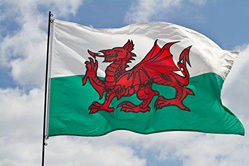 Bandera nacional de Gales dragón Galesa - bandera al aire libre bandera SUSPENSORIO - Calidad SUPERIOR - 152,4 cm x cm 91,44 (90 x 150 cm) - SUPERIOR de NYLON DURABLE al aire libre de interior o bandera - no más barato/empobreció poliéster