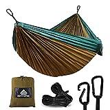 NatureFun Hamac ultra-léger de voyage Camping | 300 kg Capacité de charge,(275 x 140 cm) respirante, nylon à parachute à séchage rapide | 2 x Mousquetons de qualités, 2 x sangles de nylon Inclus | Pour jardin d'interieur/extérieur