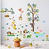 ZBYLL Wall Sticker owl Monkey Digitale Dekoration Kindergarten Umwelt