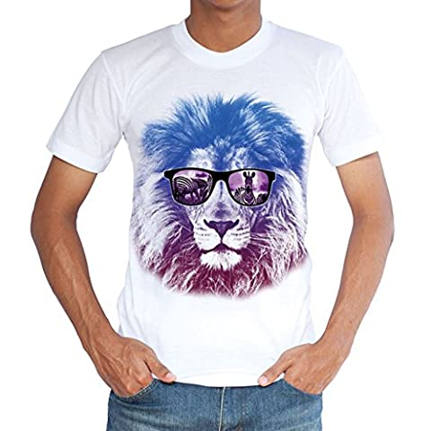 Pizoff Unisex Casual Short Sleeve Crew Neck White 3D Funny Colorful Lion With Glasses Print Slim Fit Breathable T-Shirt Culture Team Uniform Y1779-26-XL