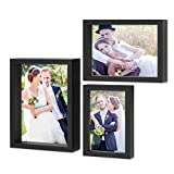 PHOTOLINI 3er Set Bilderrahmen 10x15, 13x18 und 15x20 cm Modern Schwarz Tief aus Massivholz mit Glasscheibe inkl. Zubehör/Fotorahmen / Portraitrahmen
