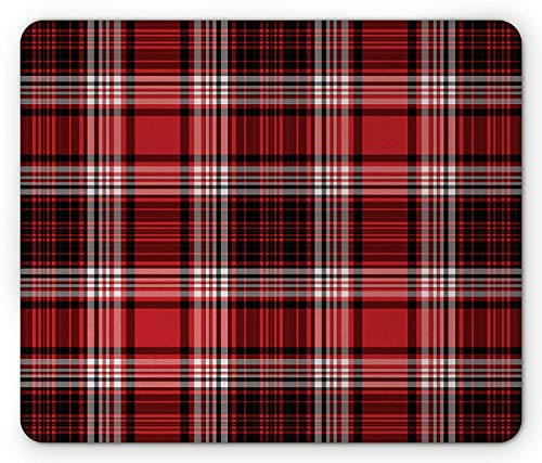 Red and Black Mouse Pad, Ancient British Skirt Cloth Print Squares Abstract Bold Lines Art Print, Standard Size Rectangle Non-Slip Rubber Mousepad, White and Ruby - Red Belkin Components