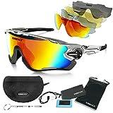Polarisierte Sport-Sonnenbrille - Herren- und Damen-Fahrradbrille +5 Wechselgläser mit klarer Linse - Polarisierter UV400-Schutz - Skilaufen, Angeln, Segeln