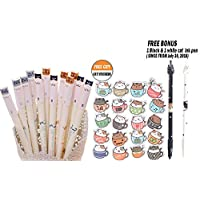 BESTIM INCUK 6 Pack Cute Cat Gel Roller Ball Pens with 0.38mm Extra Fine Point Black Ink Stationery Office Supplies Back to School Birthday Gfit